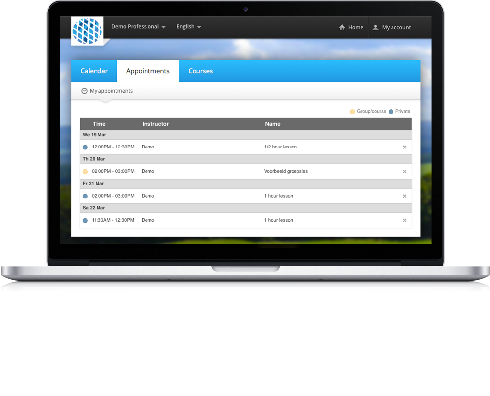 iGolfinstructor online calendar and golf lesson overview